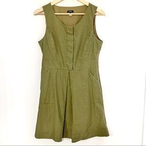 Jcrew Green Dress with Hidden Buttons abs Pockets